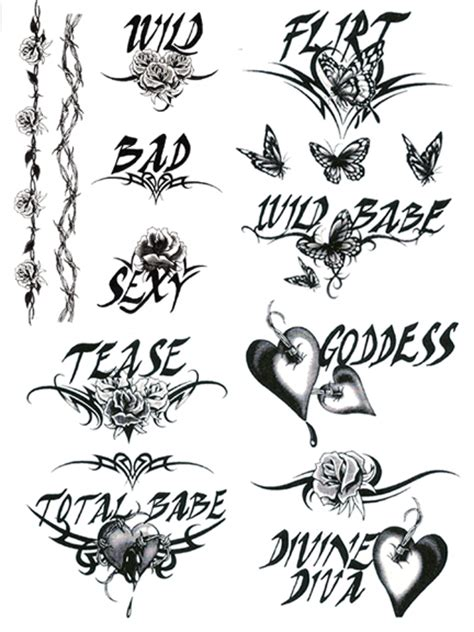 wild bad sexy temporary tattoo sheets