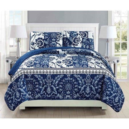 Navy Blue Quilted Coverlet by Fancy Linen 3pc Bedspread Coverlet Quilted Floral White