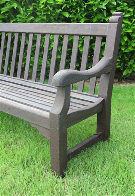 Antique Teak Bench - large vintage teak garden outdoor bench