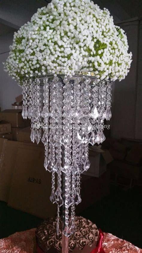 tall acrylic plastics bead wedding pillar flower stand