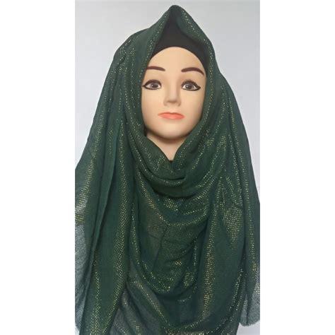 hijab  green glitter party wear hijab  shiddatcom