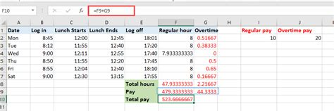quickly calculate  overtime  payment  excel