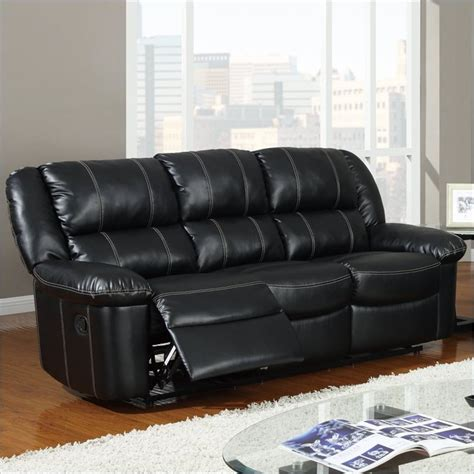 global furniture usa sofa global furniture usa 9966 reclining black leather sofa