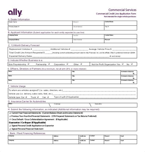 credit application template   word  documents