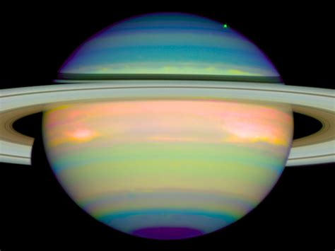 saturn colors an infrared view of saturn esa hubble