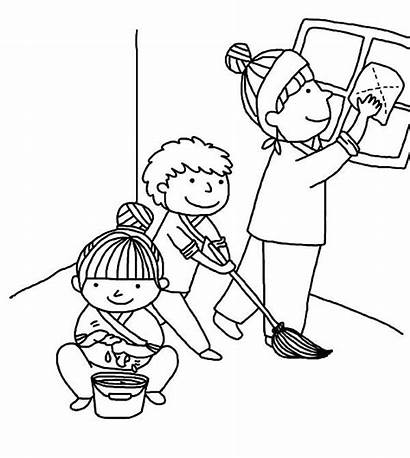 Cleaning Coloring Helping Pages Kindness Mother Colouring