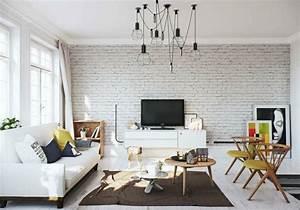 deco salon sejour murs With deco mur brique salon
