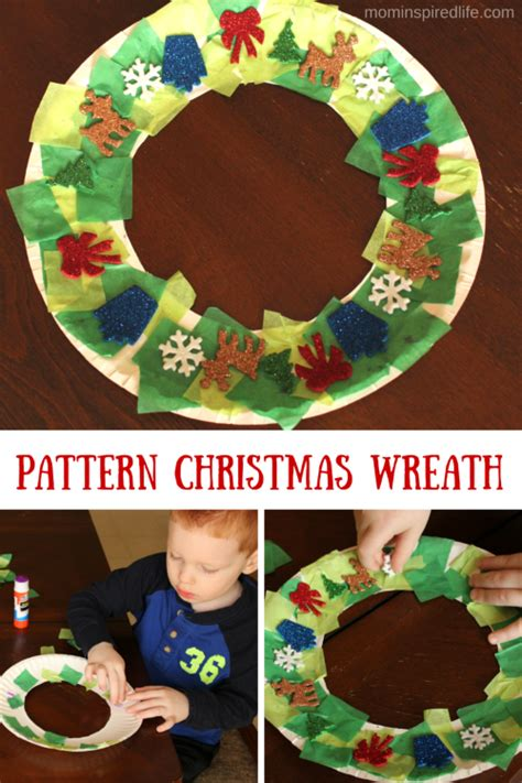 sticker pattern christmas wreath craft kid blogger