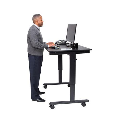 desk top stand up desk 48 quot crank adjustable stand up desk black frame black oak top