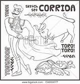 Corrida Coloring Designlooter Isolated sketch template
