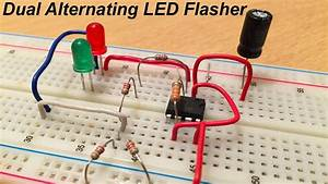 Dual Alternating Led Flasher With Ne555  Electric Diagram