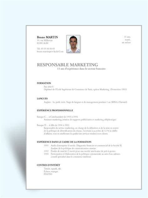 Cv Exemple Simple by Exemple Cv Simple Cv Anonyme