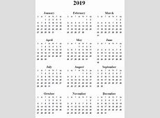 2019 calendar printable with holidays calendar yearly