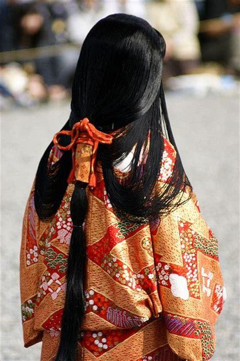 heian court women hairstyle kanzashi  japanese hair
