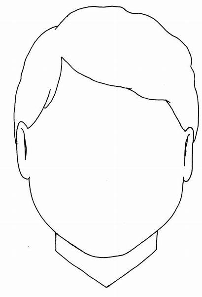 Blank Face Boy Coloring Head Template Outline