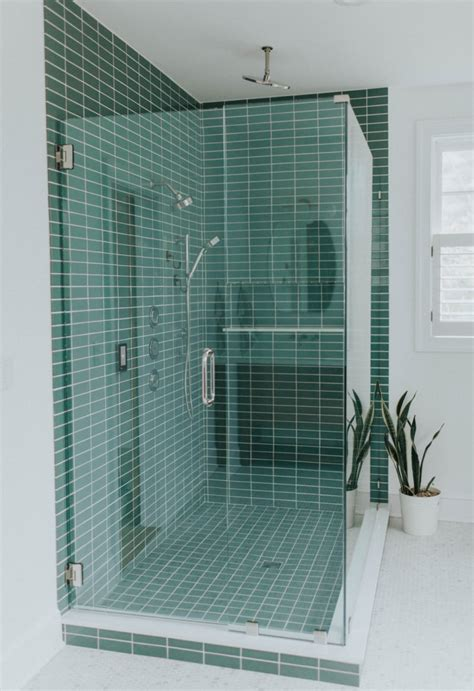 green shower tile  hexagon floor tile bathroom