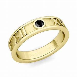 roman numeral wedding band 18k gold solitaire black With roman numeral wedding ring