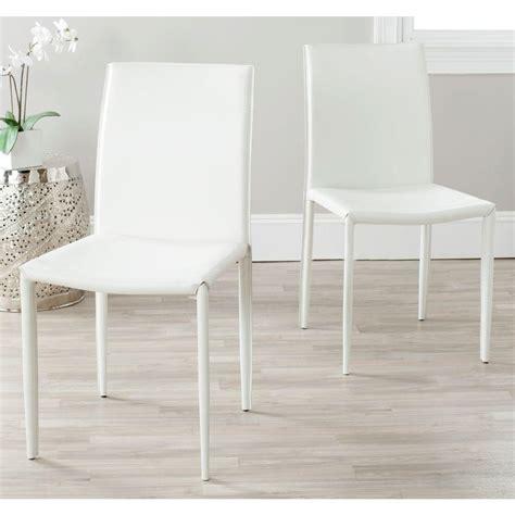 safavieh karna white bonded leather dining chair foxa