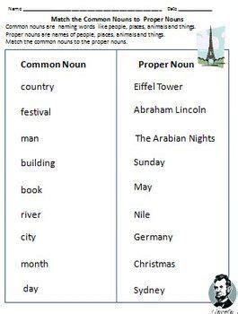 nouns common nouns proper nouns worksheets  grade