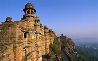 India Castle Scenic Temple Sky Mountains Buildings