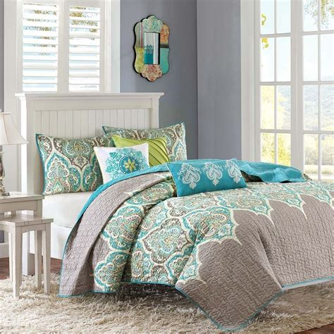 Contemporary Quilts And Coverlets by Beautiful Modern Tropical Bohemian Teal Blue Aqua