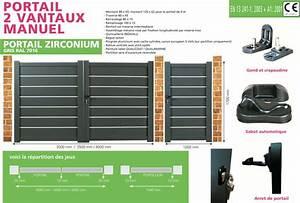 Portail 3 Metres : portail en aluminium double battants zirconium 3 m tres ~ Premium-room.com Idées de Décoration