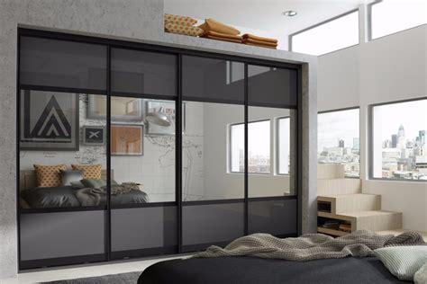 anthracite mirror  panel sliding wardrobe eco