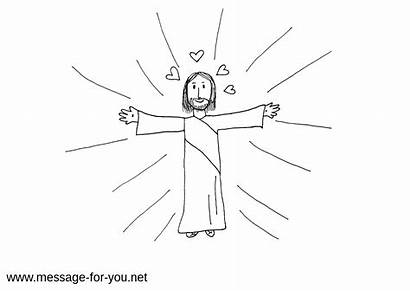 Colouring Jesus Arms Hugging Hug Open Christ