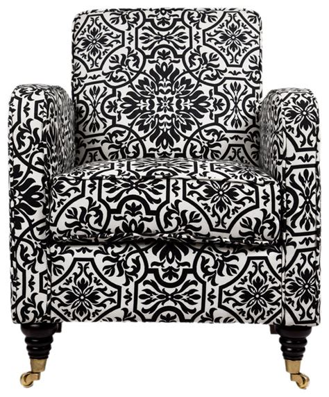 angelo home modern damask grant armchair black and white