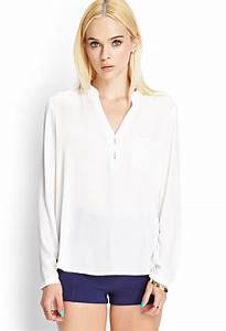 Lyst - Forever 21 Long-Sleeved Woven Top in White