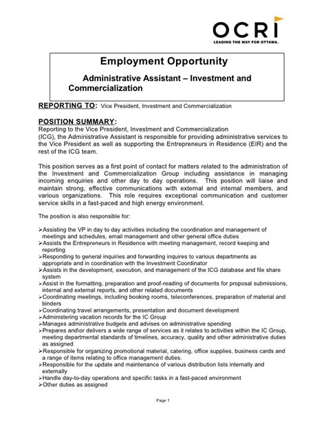 Professional Summary For Administrative Assistant by Administrative Assistant Description Office Sle