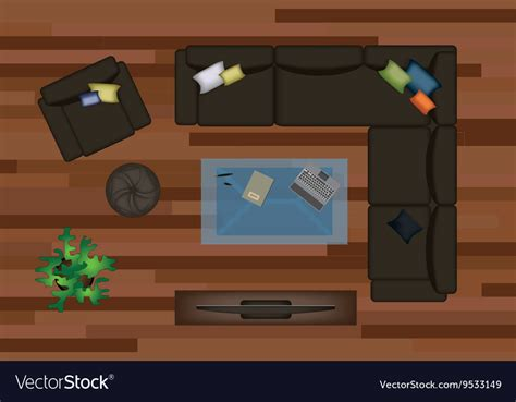 sofa vector top view interior icons top view with sofa armchair couch vector image