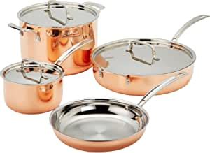 amazoncom cuisinart copper tri ply stainless steel  piece cookware set kitchen dining