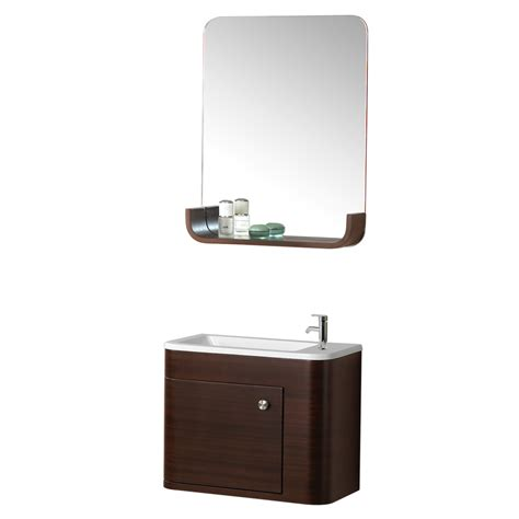 shop dreamline modern walnut drop in single sink bathroom vanity with cultured marble top