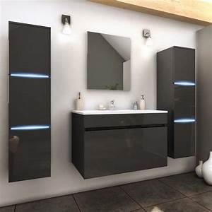 salle de bain complete meuble gris 1 vasque 2 colonnes With led meuble salle de bain