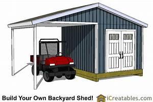 10x14 Backyard Shed Plans Large Porch-Carport