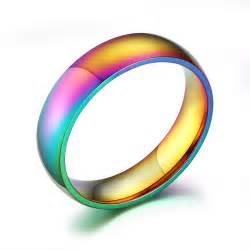 titanium wedding bands reviews lgbt rainbow ring pride colorful unisex men women
