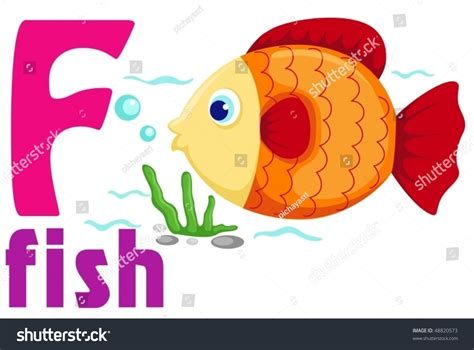 Illustration Of Isolated Animal Alphabet F With Fish