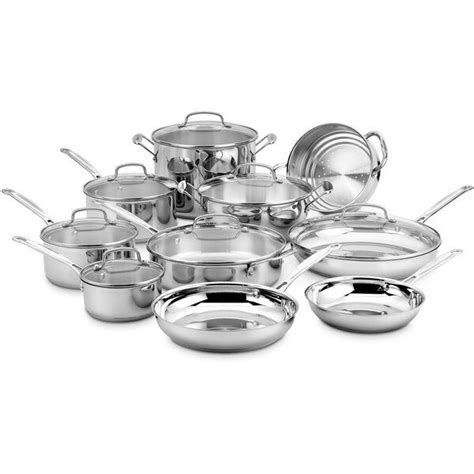 cuisinart chef  classic  piece stainless steel cookware set cookware set stainless steel