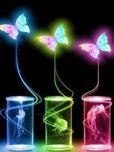 Download Neon Butterflies Wallpaper 240x320