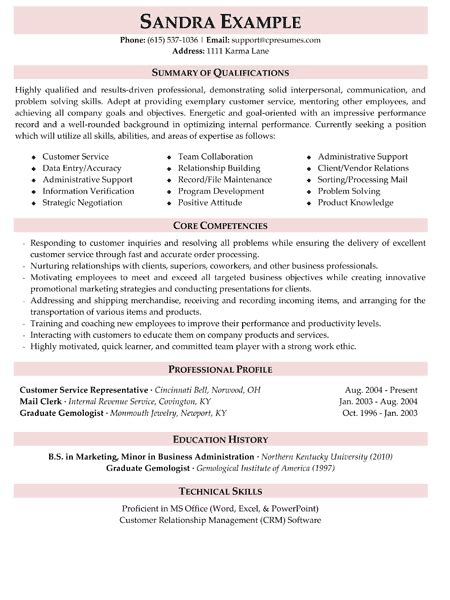 Summary Of Qualifications For Retail by Customer Service Exle Resume Summary Of Qualifications