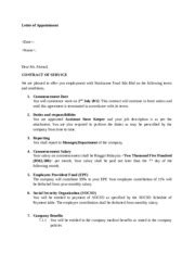Letter of Appointment - Letter of Appointment Dear Mr Ahmad CONTRACT OF SERVICE We are pleased