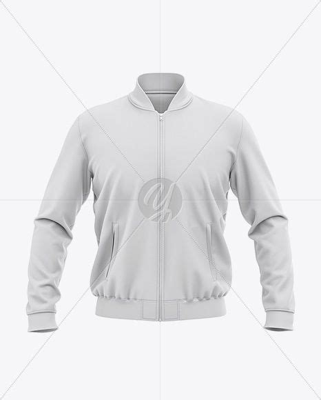 Present your design on this mockup. Men's Zipped Bomber Jacket Mockup - Front View - Baseball ...