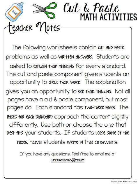 free cut and paste worksheets for 3rd grade free