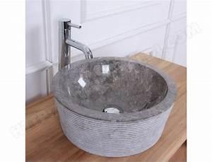 Bois Dessus Bois Dessous : vasque tambour en pierre de marbre gris bois dessus bois ~ Melissatoandfro.com Idées de Décoration