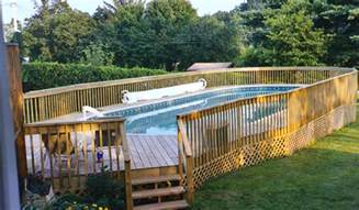 oval above ground pool with deck pool design ideas