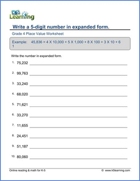 grade 4 place value worksheet write numbers in expanded