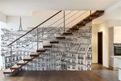 decoration dun escalier papiers peints personnalises