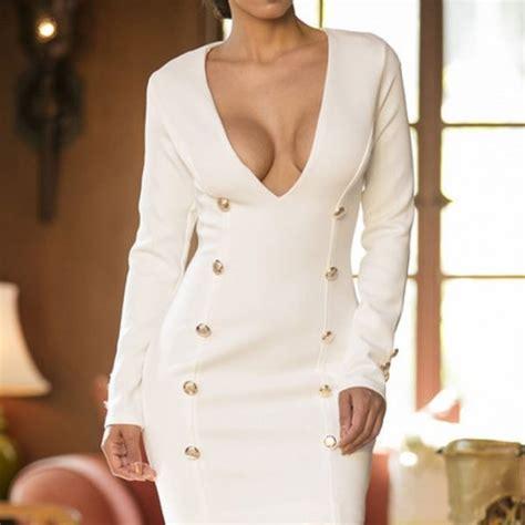 White Long Sleeve Deep V Bodycon Mini Dress Online Store