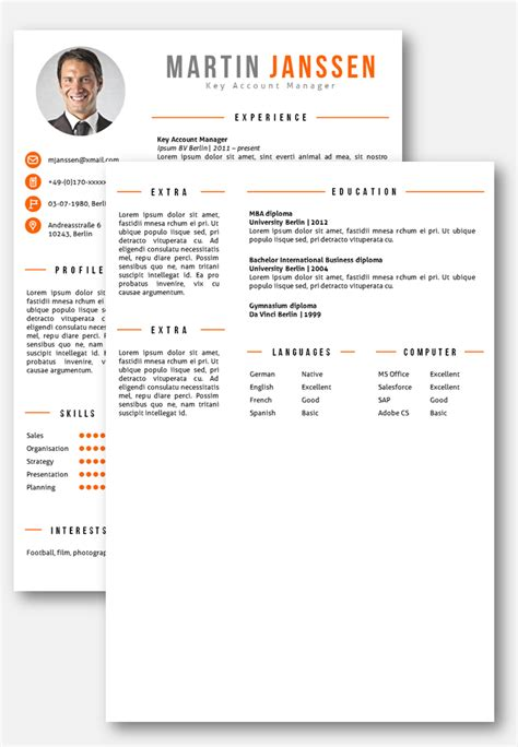 Cv Templates And Exles by Cv Template Berlin C V S Cv Template